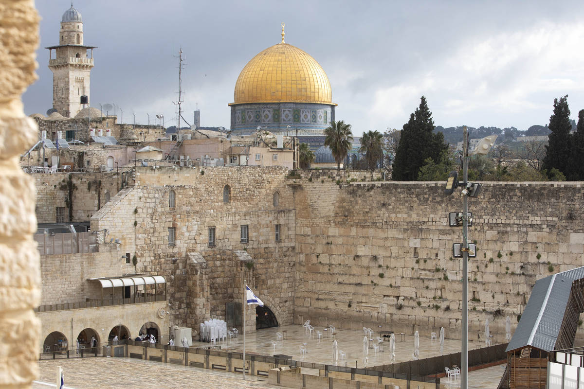 The Dome of the Rock Mosque in the Al Aqsa Mosque compound, and the Western Wall, the holiest s ...