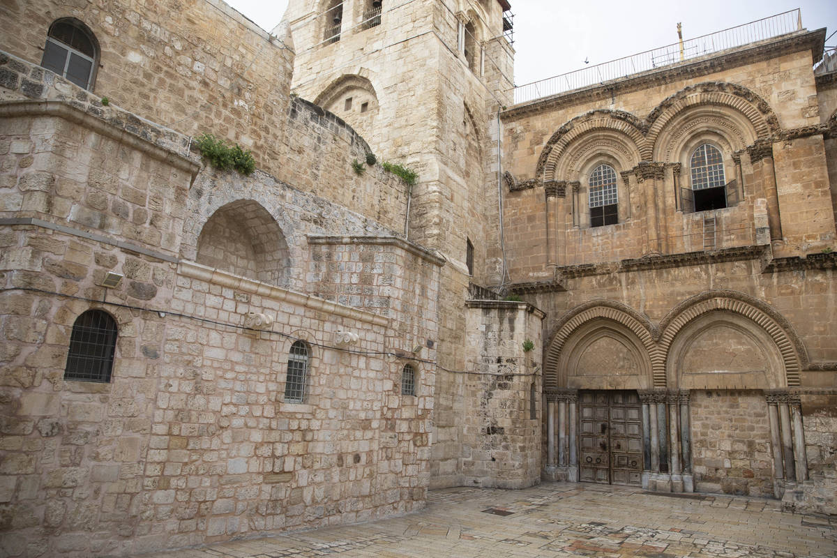 This Friday, April 10, 2020 photo shows the Church of the Holy Sepulchre, believed by many Chri ...