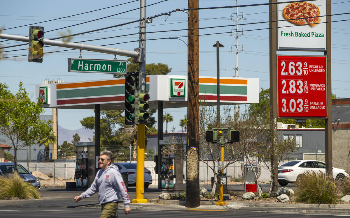 Nevada gas prices still higher than the national average like this 7-Eleven station along Maryl ...