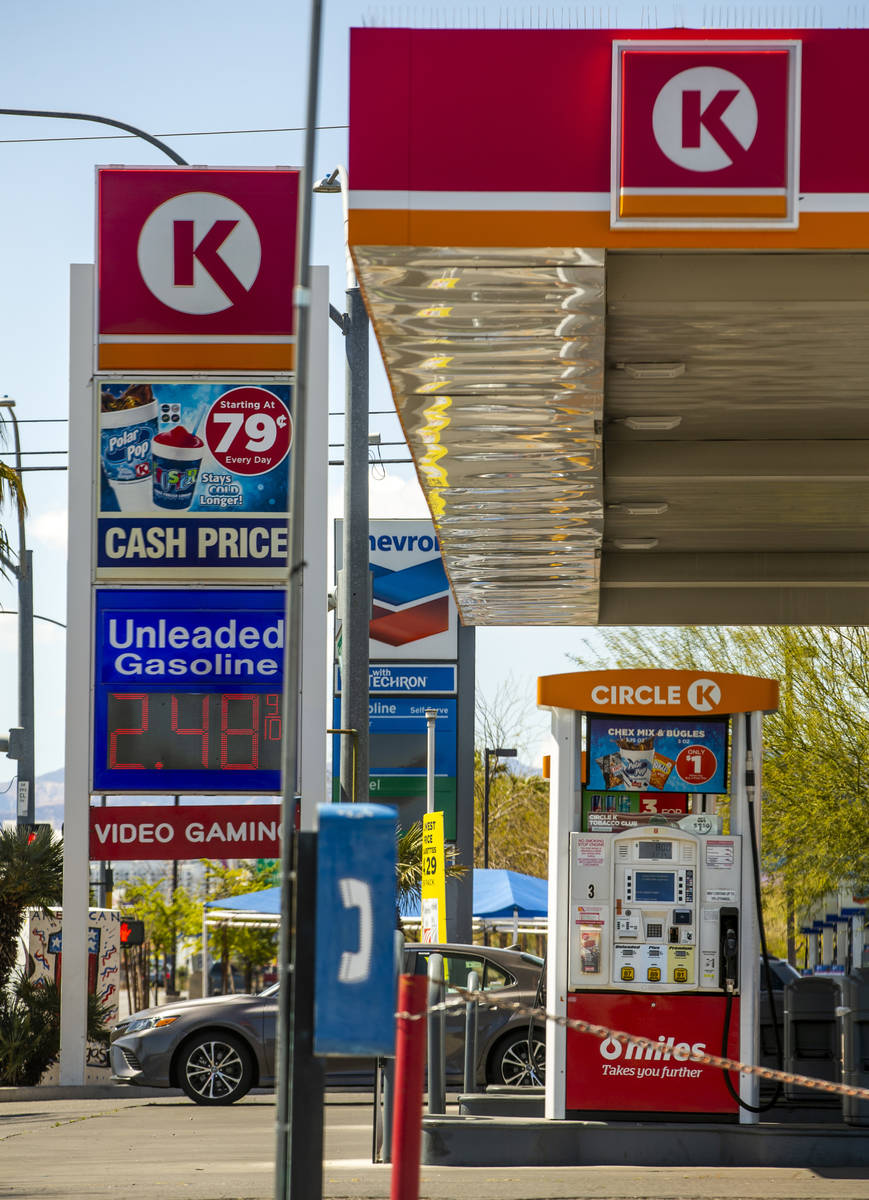 Nevada gas prices still higher than the national average like this Circle K station along Maryl ...
