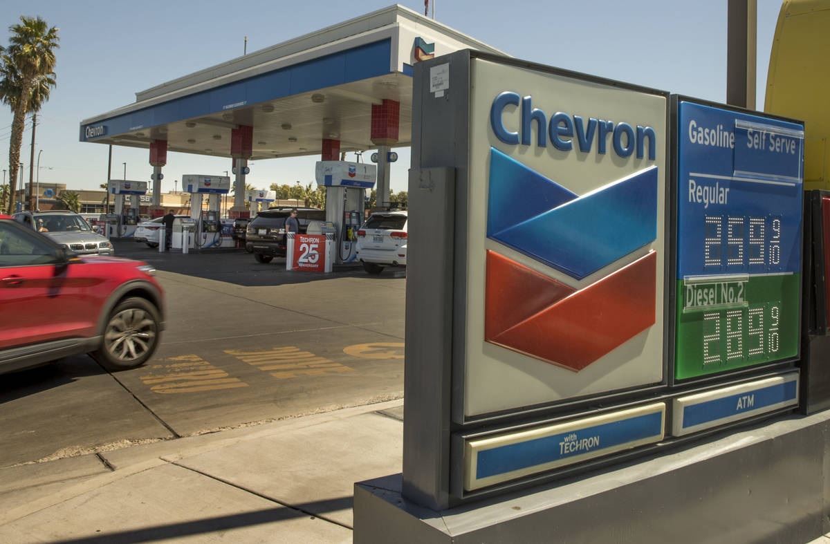 Nevada gas prices still higher than the national average like this Chevron station along Maryla ...