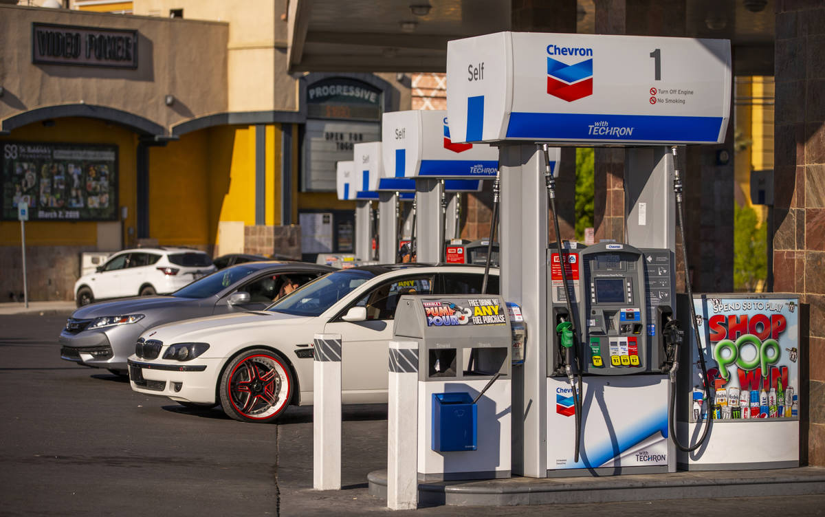 Nevada gas prices still higher than the national average like this Chevron station along Tropic ...
