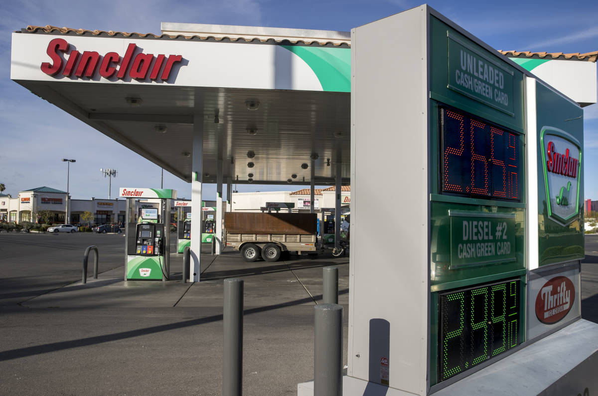 Nevada gas prices still higher than the national average like this Sinclair station along Tropi ...