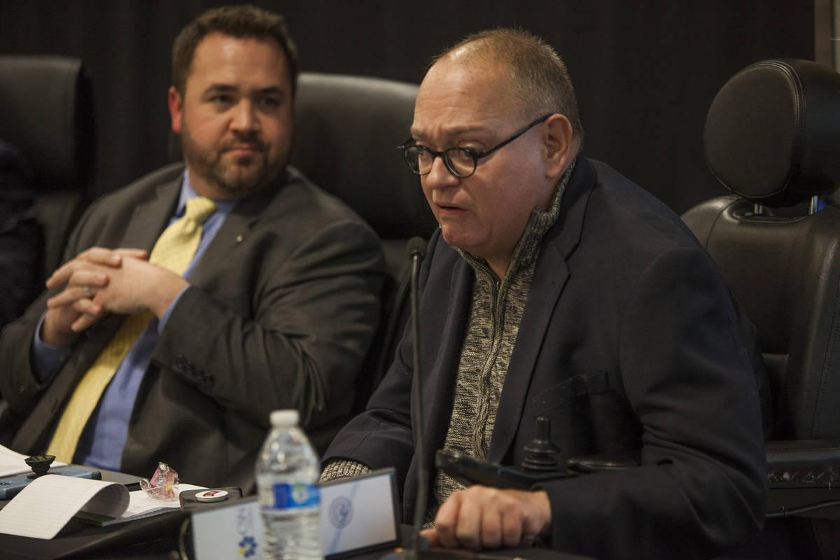 Regent Sam Lieberman, right, speaks alongside other regents at the College of Southern Nevada's ...