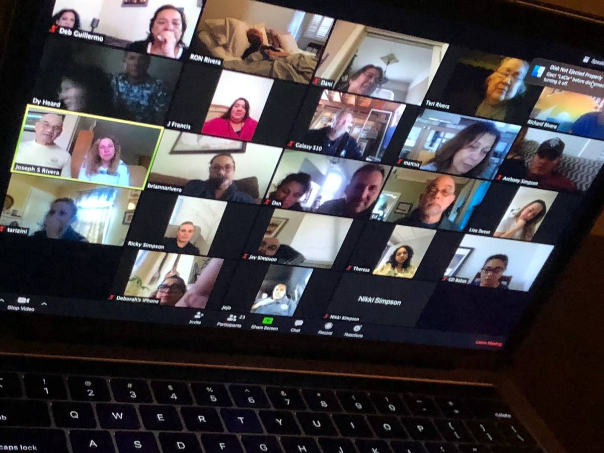 Friends and family members participate in a Zoom call with Ron Rivera on the day before his dea ...