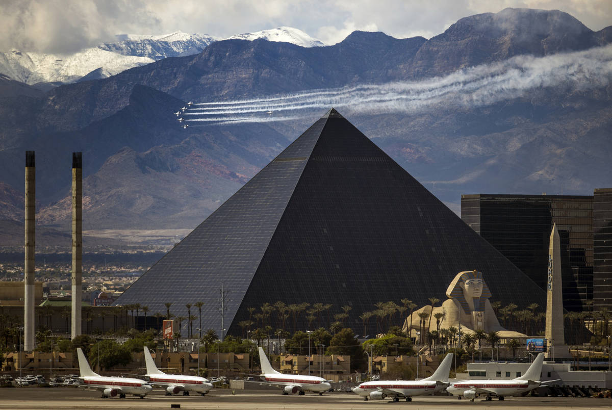 "The U.S. Air Force Air Demonstration Squadron ""Thunderbirds"" soar past the Luxor during their f ..."