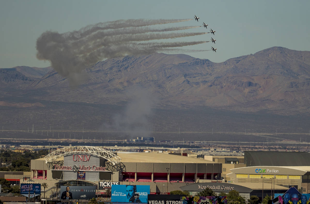 The U.S. Air Force Air Demonstration Squadron ÒThunderbirdsÓ soar past UNLV during th ...
