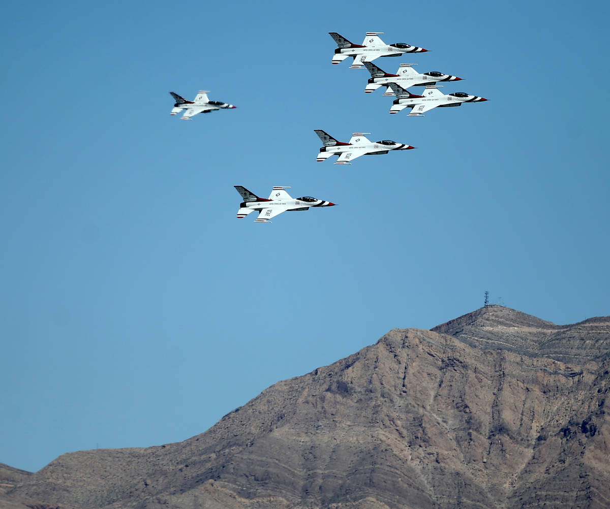 U.S. Air Force Air Thunderbirds perform a flyover in Las Vegas to honor front line COVID-19 res ...