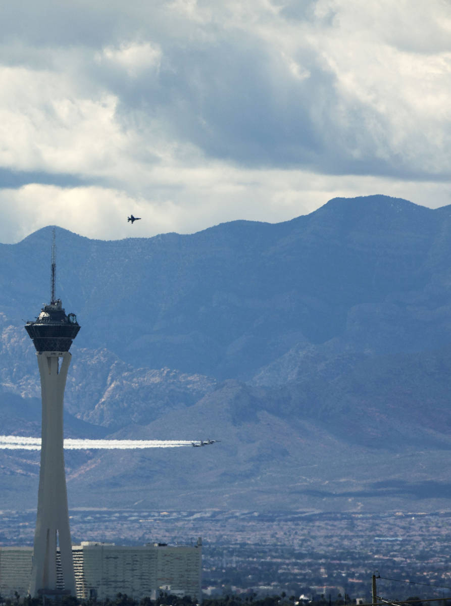 "The U.S. Air Force Air Demonstration Squadron, the ""Thunderbirds"" fly past the Stratosphere in ..."