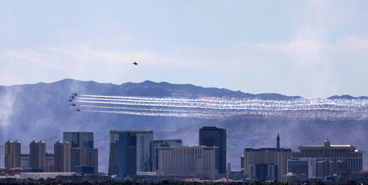 "The U.S. Air Force Air Demonstration Squadron, the ""Thunderbirds"" flies over the Strip in h ..."