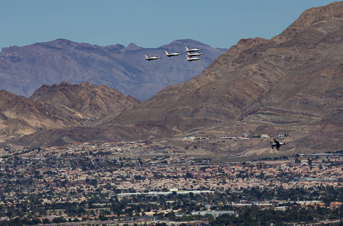 The U.S. Air Force Thunderbirds fly in formation above the Las Vegas Valley on Saturday, April ...