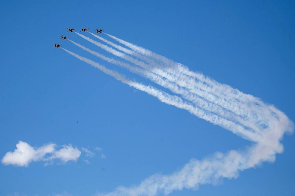 "The U.S. Air Force Air Demonstration Squadron ""Thunderbirds"" do a flyover Summerl ..."
