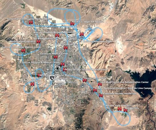 The Thunderbirds flew over 18 hospitals and medical facilities, along the Las Vegas Strip and o ...