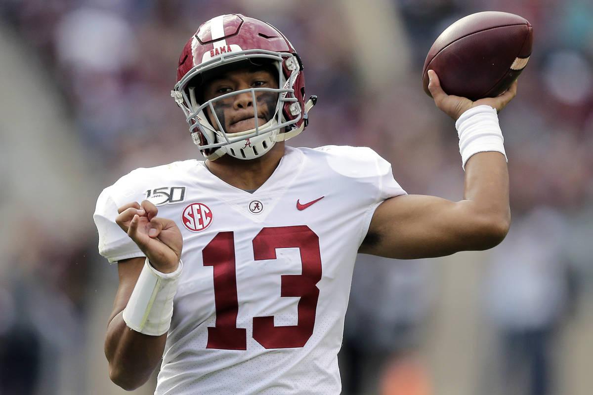 FILE - In this Oct. 12, 2019, file photo, Alabama quarterback Tua Tagovailoa passes against Tex ...