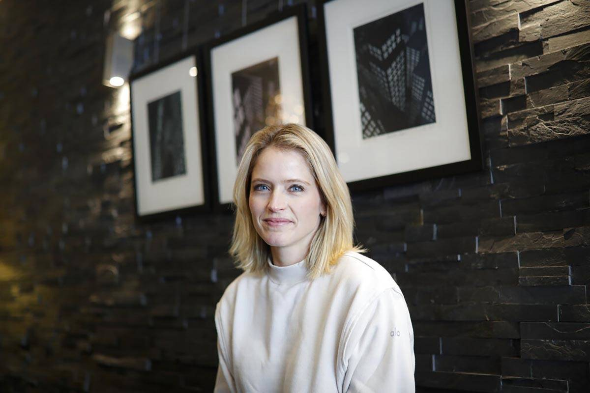 Television host and journalist Sara Haines is photographed in her lobby after working from home ...
