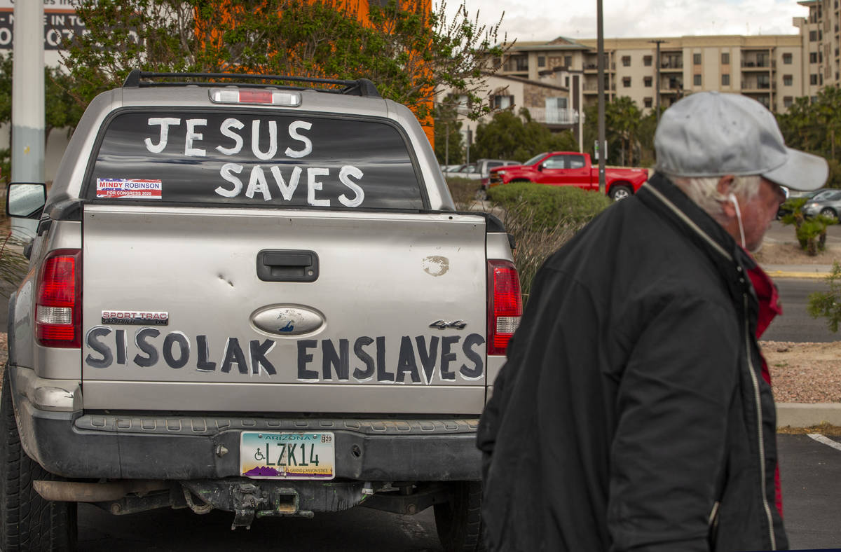 A vehicle is prepped and ready at the start of the Nevada Caravan Protest of Government Overrea ...