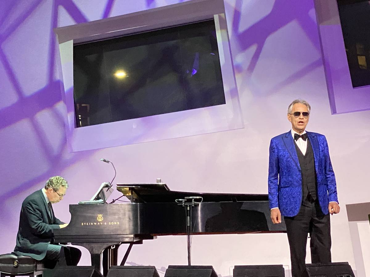 Andrea Bocelli is shown performing at the Cleveland Clinic Lou Ruvo Center for Brain Health on ...