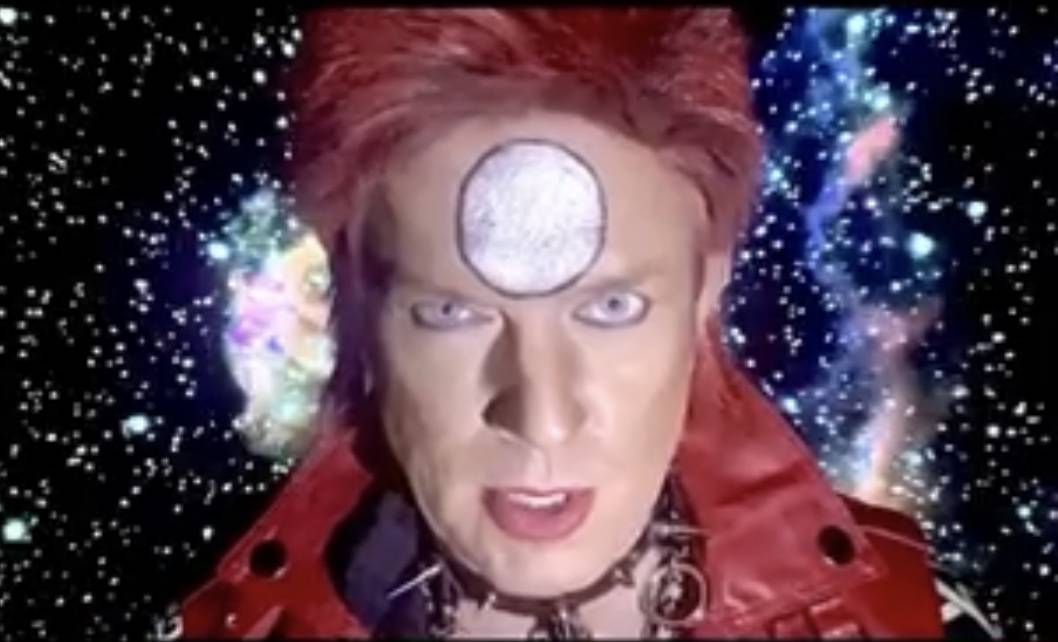 """Chris Phillips of Zowie Bowie is shown in his video of David Bowie's """"Life On Mars."""" (Zowie Bow ..."""