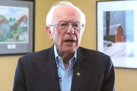 This image from video provided by the Bernie Sanders presidential campaign shows Sen. Bernie Sa ...