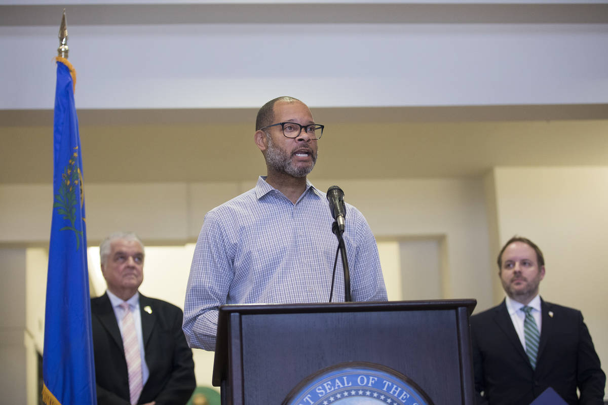Nevada Attorney General Aaron Ford takes part in a press conference regarding the coronavirus c ...