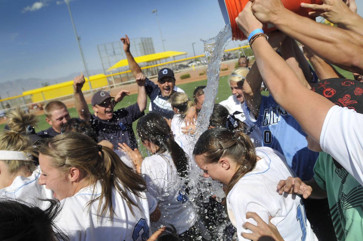 DAVID BECKER/LAS VEGAS REVIEW-JOURNAL Centennial High School softball team members get doused ...