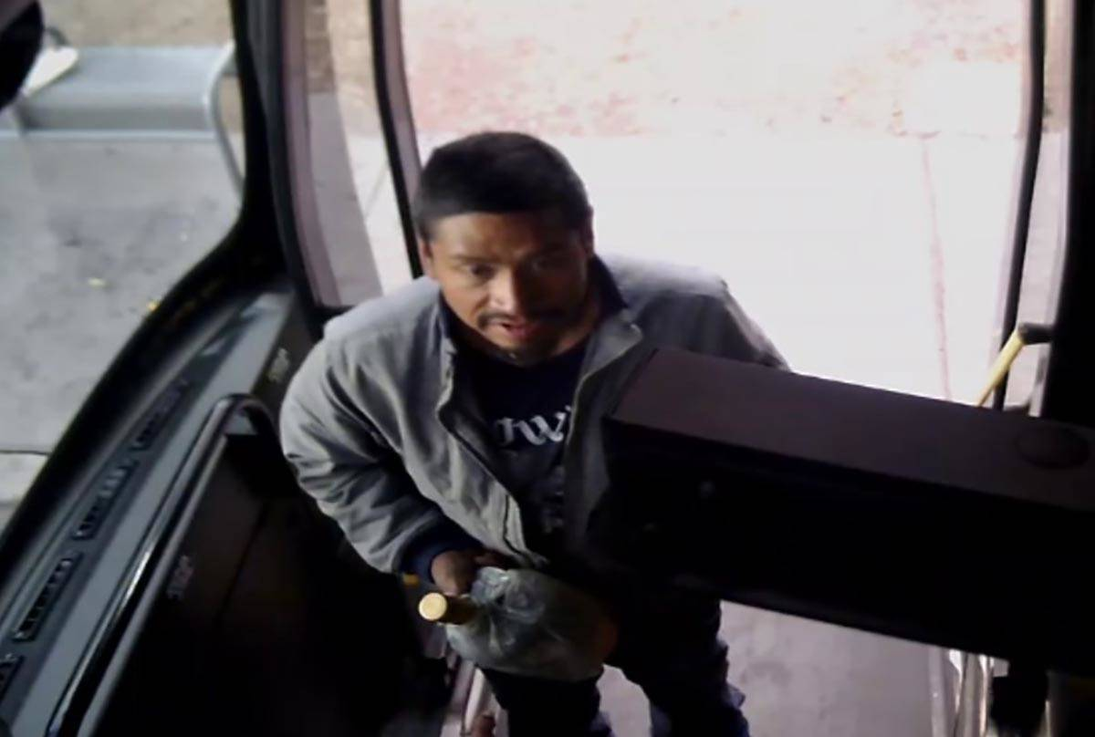 Photo from a surveillance video of a suspect in the assault on a Regional Transportation Commis ...