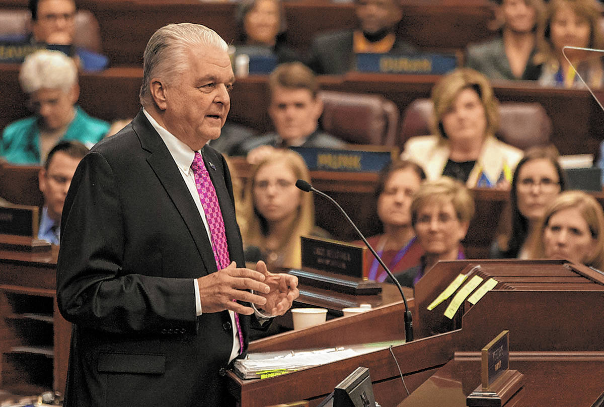 Nevada Governor Steve Sisolak delivers his first State of the State address from the Assembly C ...