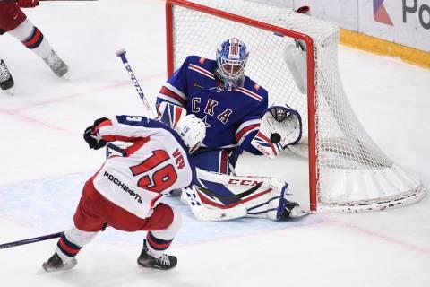 SKA's goaltender Alexey Melnichuk in action during the Kontinental Hockey League ice hockey mat ...