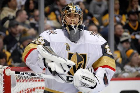 Vegas Golden Knights goaltender Marc-Andre Fleury plays in an NHL hockey game against the Pitts ...