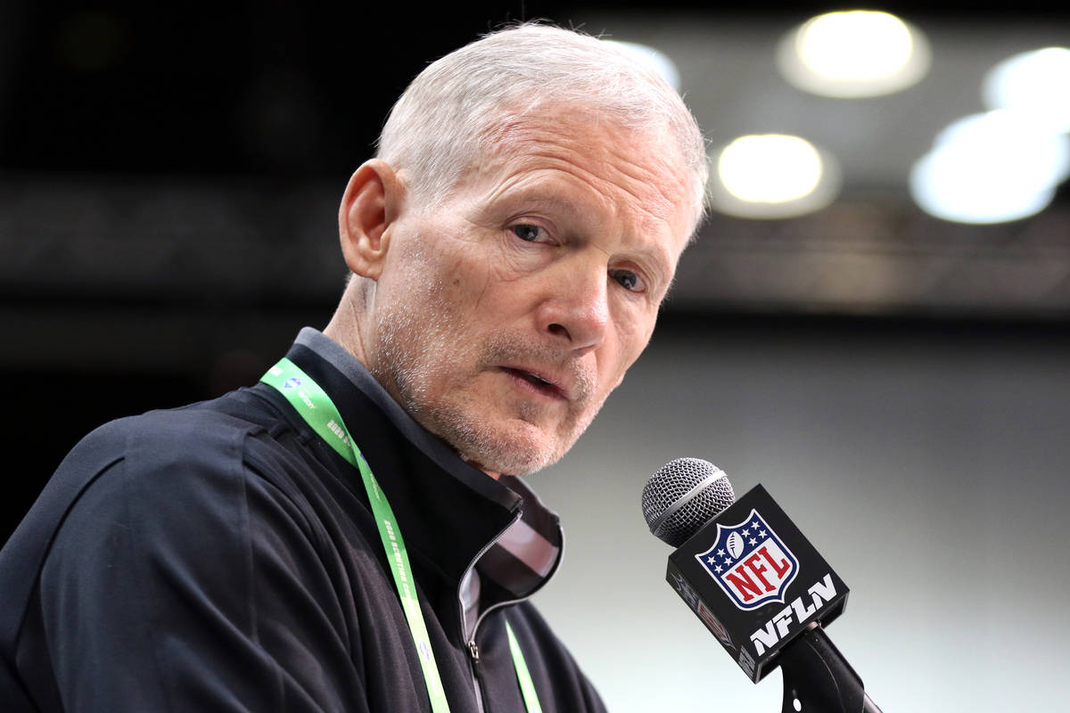 Las Vegas Raiders general manager Mike Mayock speaks at the NFL scouting combine at the Indiana ...