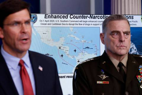 Defense Secretary Mark Esper speaks about the coronavirus and illegal drugs in the James Brady ...