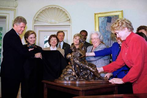 FILE - In this Nov. 10, 1993, file photo, President Bill Clinton and first lady Hillary Rodham ...