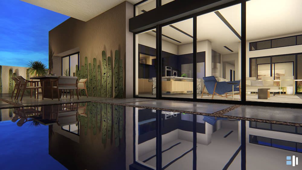 The homes feature spaces that flow from the indoor living areas to the outside of the home. (Bl ...