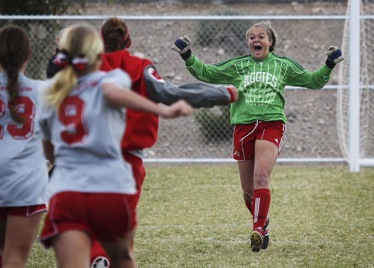 Arbor View goalie Hayley Fife, right, runs towards her teammates after making the crucial save ...