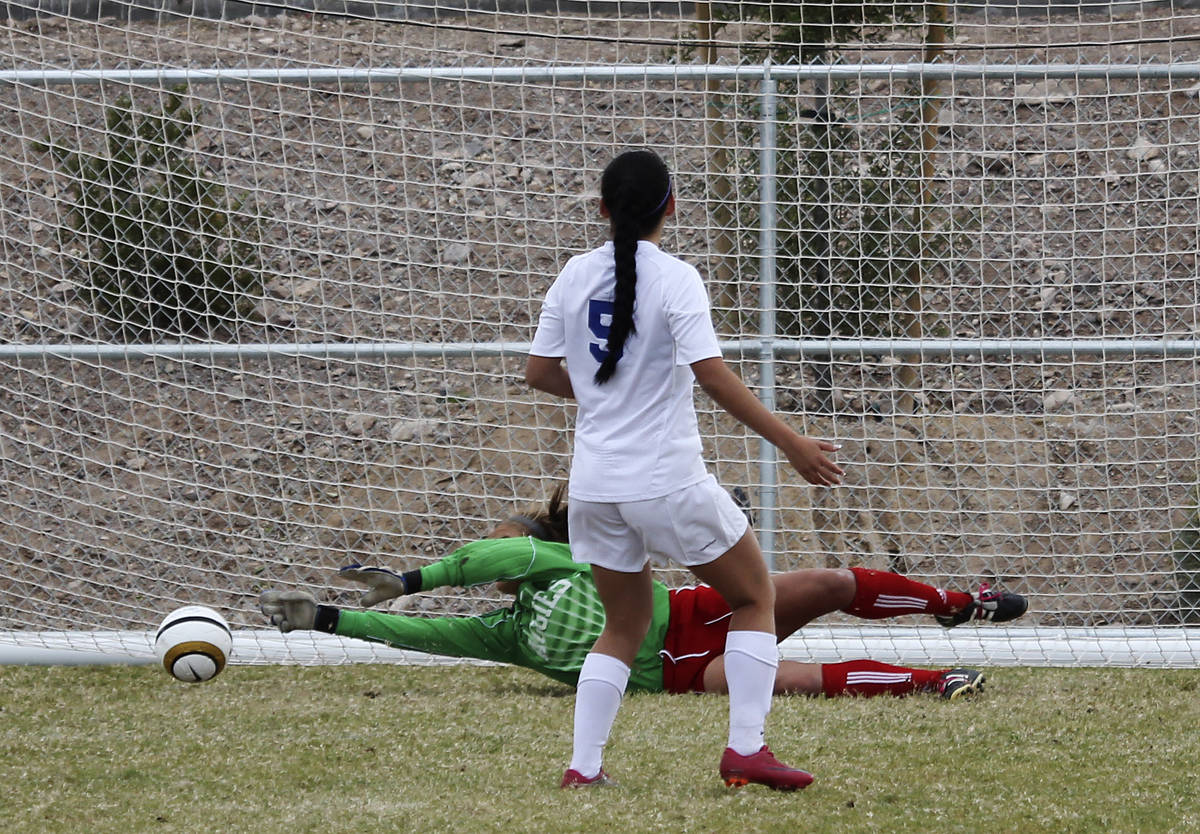 Arbor View goalie Hayley Fife makes one of her two crucial saves in overtime penalty kicks agai ...