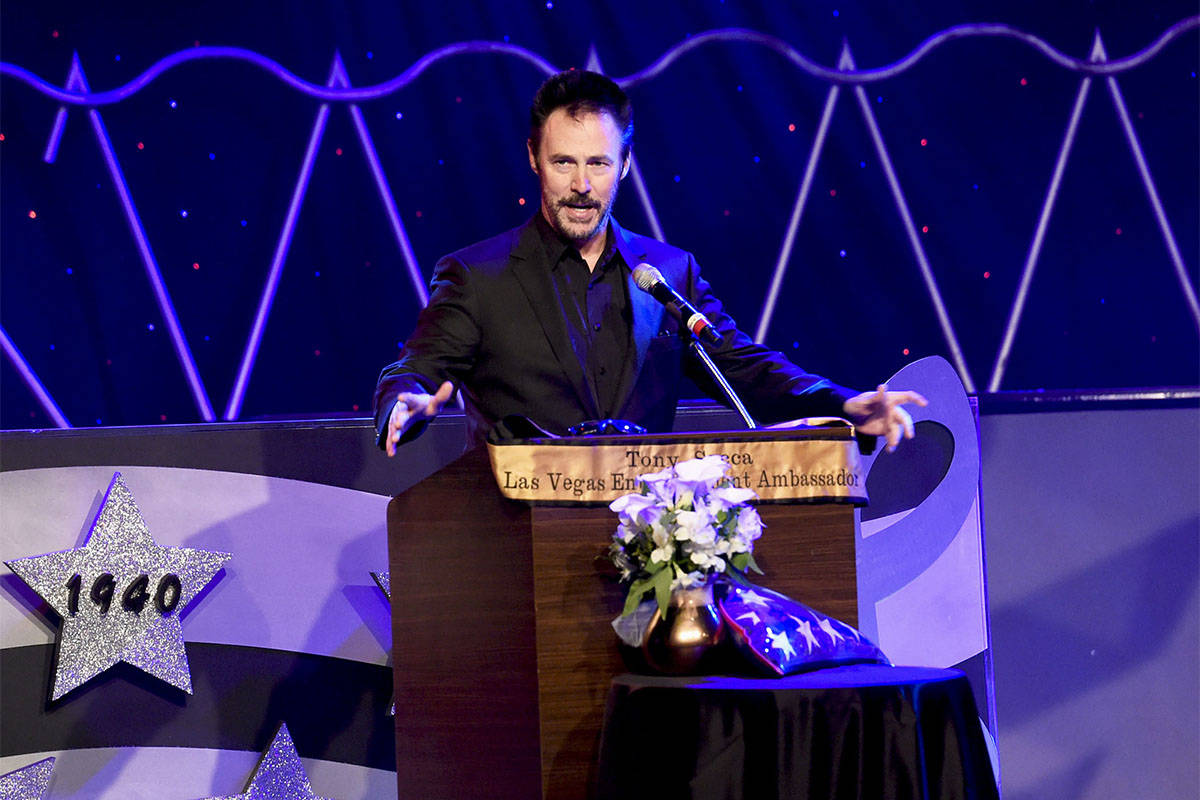 Magician Lance Burton speaking at the Tony Sacca Celebration of Life Memorial at the Stratosphe ...