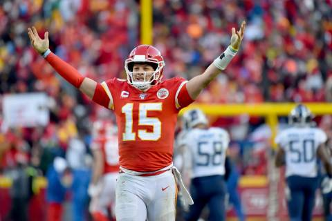 Kansas City Chiefs' Patrick Mahomes celebrates a touchdown pass during the second half of the N ...