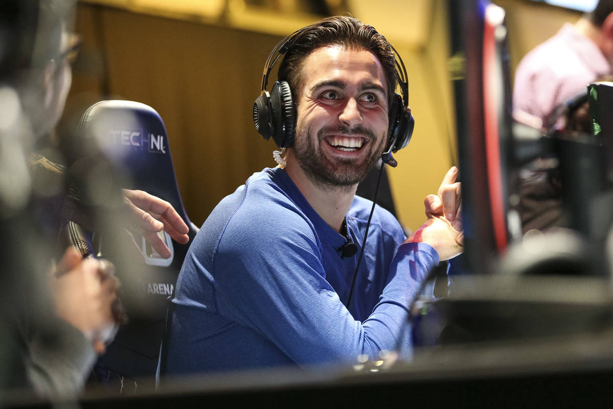 """Vegas Golden Knights right wing Alex Tuch plays """"Fortnite"""" with fans at the HyperX Es ..."""