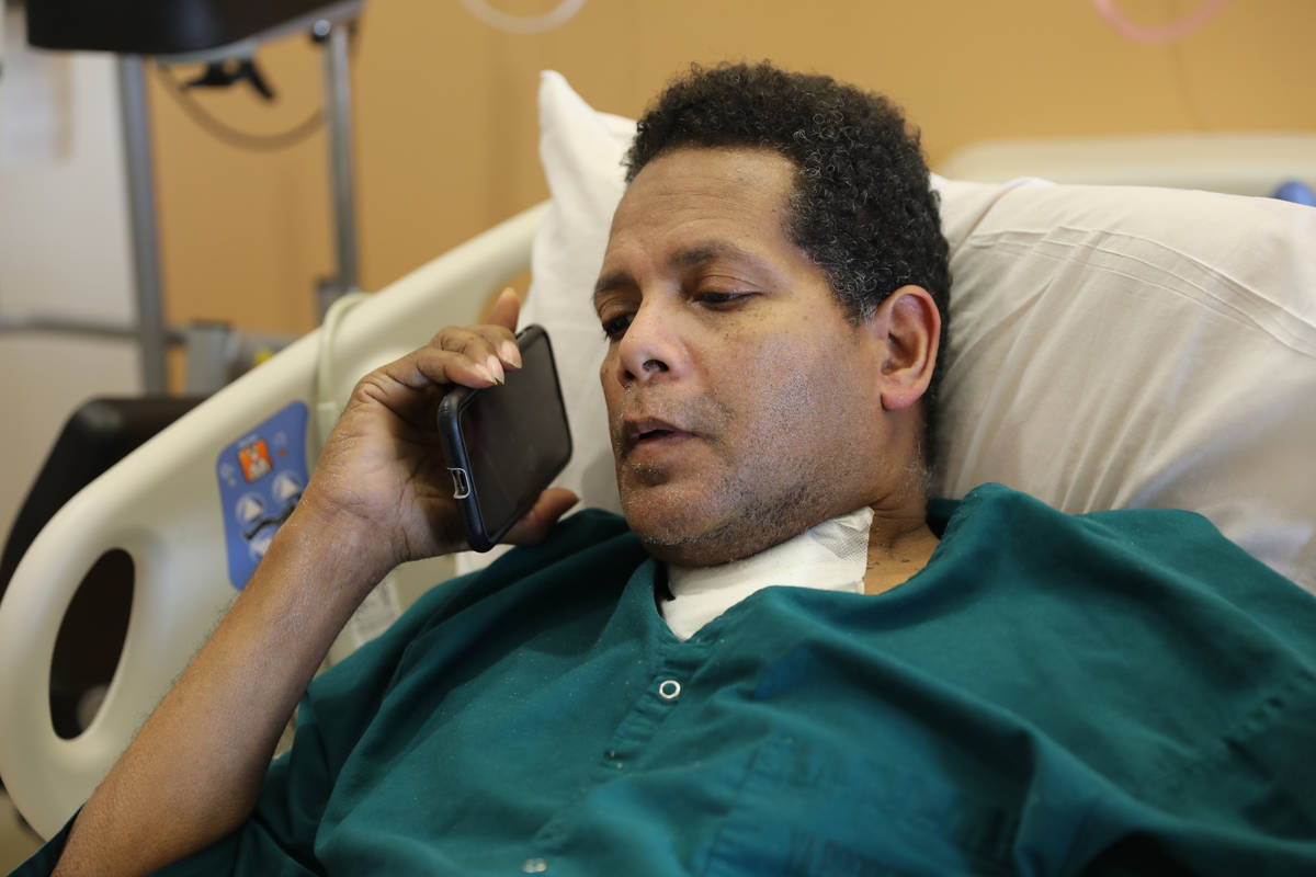 Former Marine Pvt. Ronald Pipkins, 55, talks to a reporter from his hospital room at the VA Med ...