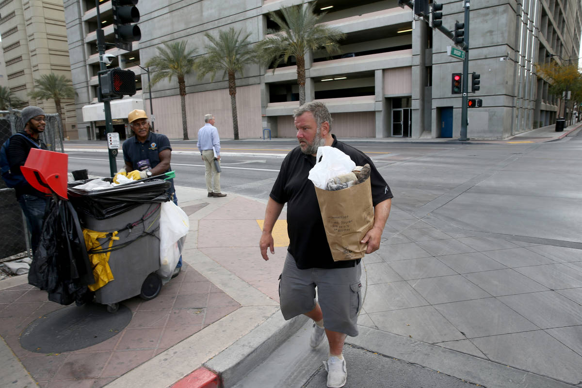 Stephen Howard, 44, is released from Clark County Detention Center in downtown Las Vegas, Frida ...