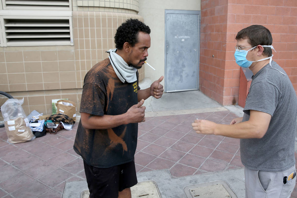 "Micah ""Aqua"" Peoples, 35, left, and Woody Stephens, 42, are released from Clark Count ..."