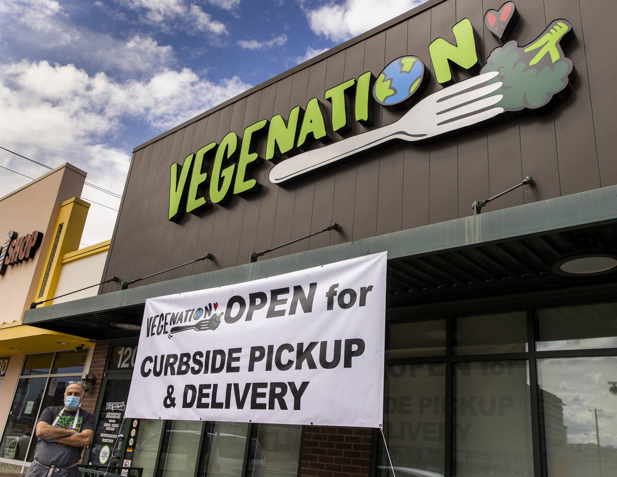 Vegenation owner Donald Lemperle outside at their curbside pickup in Downtown Las Vegas on Mond ...