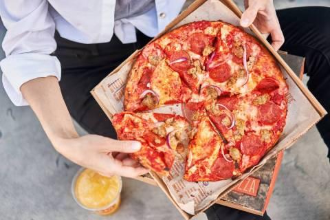 Blaze Pizza's Signature Meat Eater on High-Rise Dough. (Blaze Pizza)
