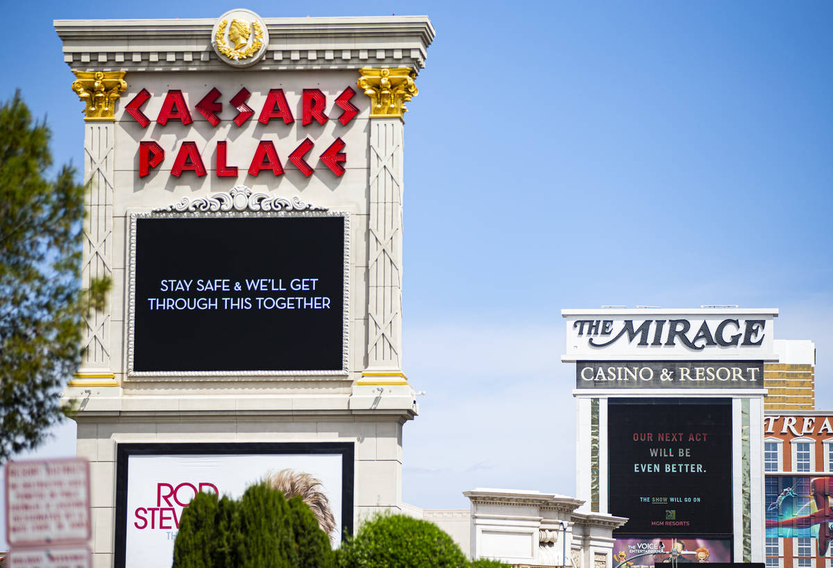 Signage at Caesars Palace and The Mirage along the Las Vegas Strip on Thursday, April 16, 2020. ...