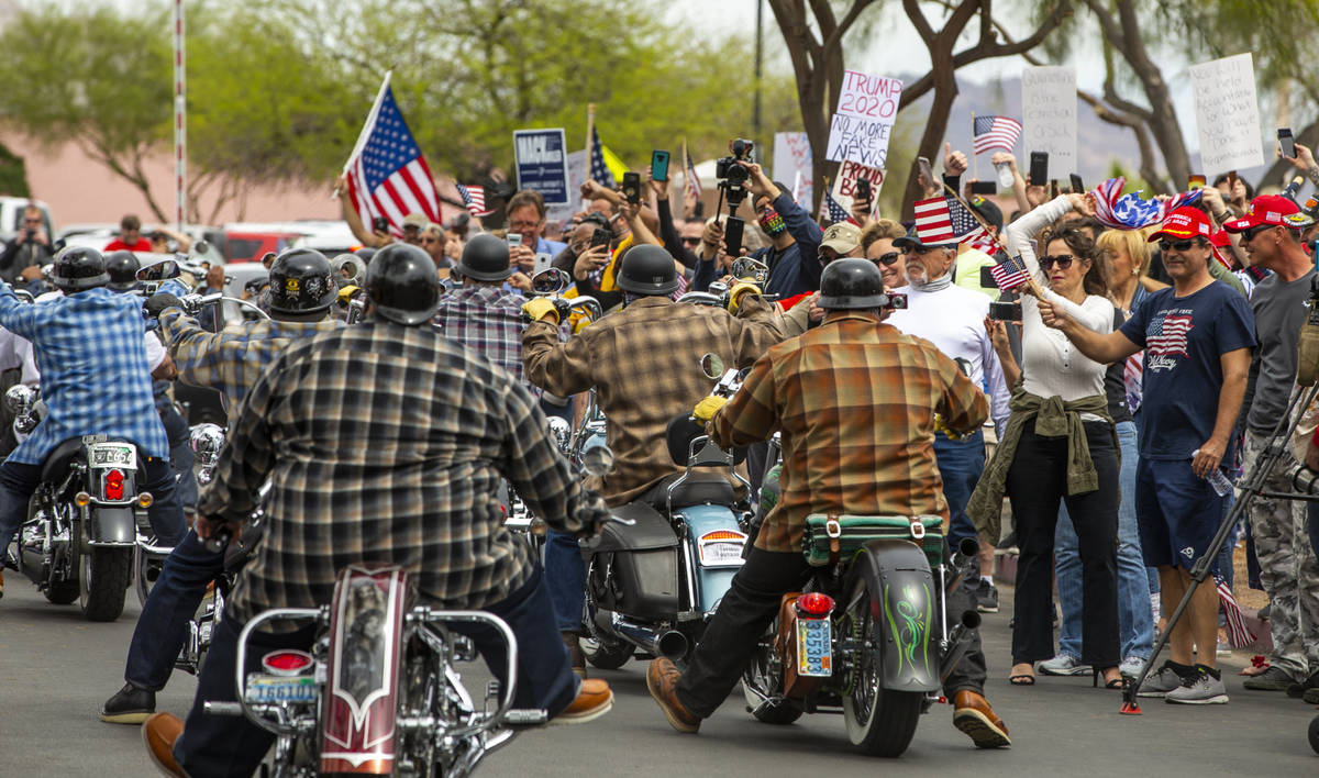 A pack of motorcyclists arrive to join the many others during the Reopen Nevada protest at the ...