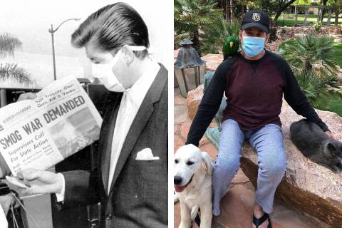 Wayne Newton, left, is shown wearing a medical mask in this United Press International photo in ...