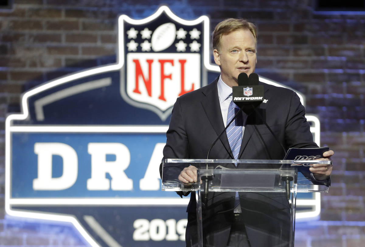 FILE - In this April 25, 2019, file photo, NFL Commissioner Roger Goodell speaks ahead of the f ...