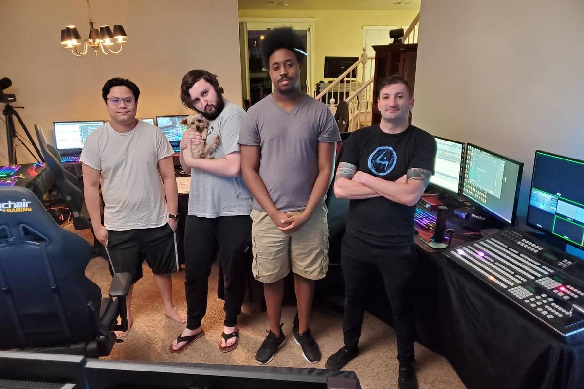 The HyperX Esports production lineup, from left, Gerard Cana, Kevin Forrstrom (with Padme the p ...