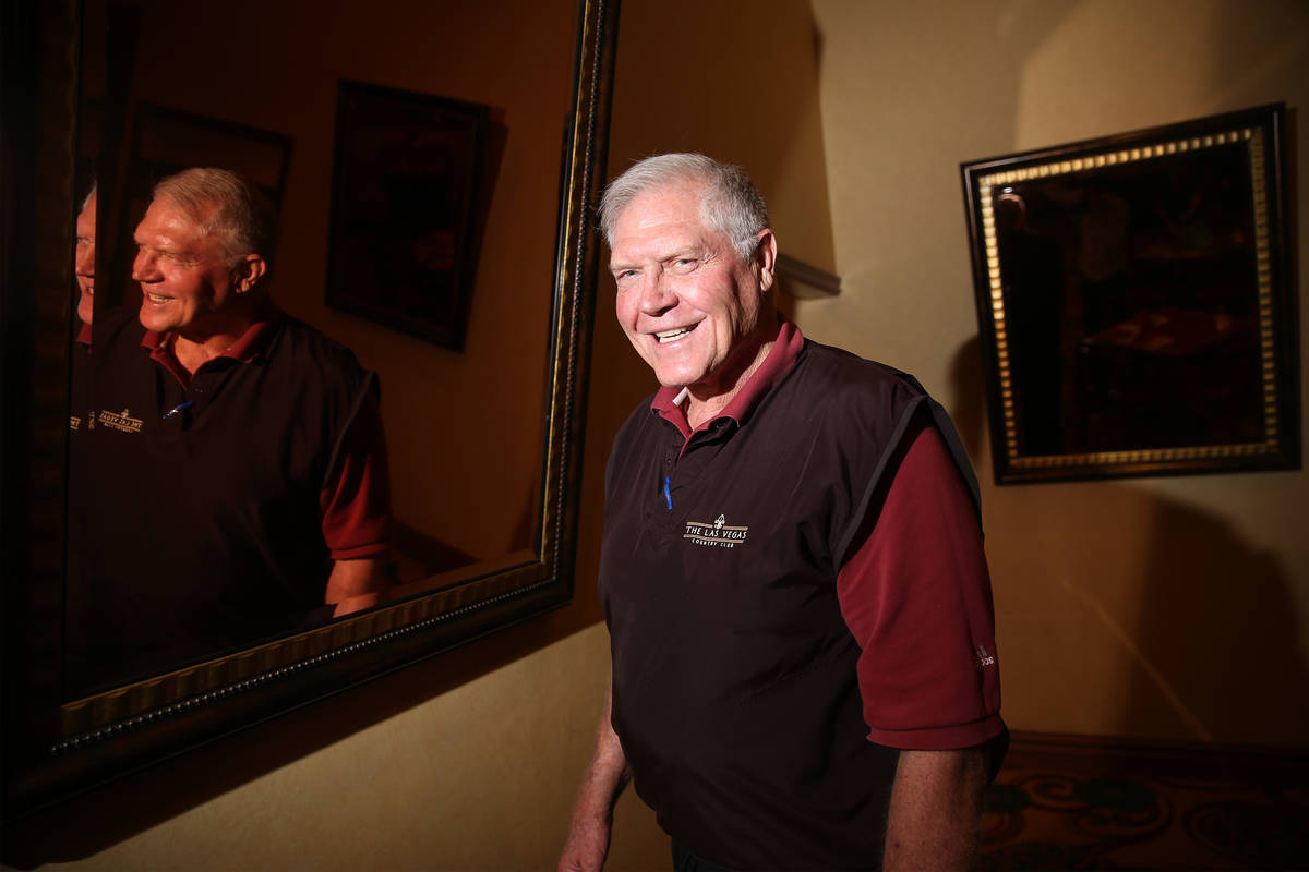 Former All-Pro football player George Kunz of Las Vegas poses at the South Point hotel-casino i ...