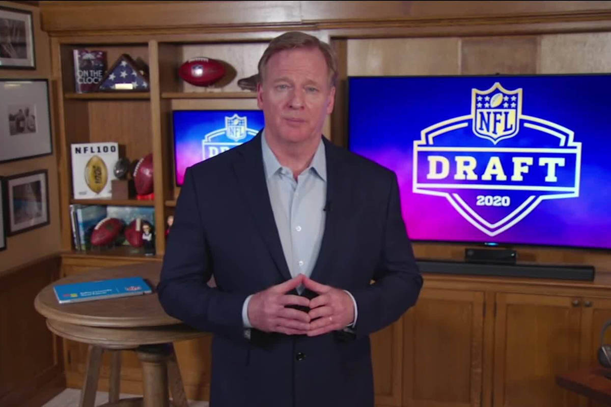 In this still image from video provided by the NFL, NFL Commissioner Roger Goodell speaks from ...